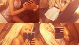 Hot girl in beautiful little white dress is on videochat